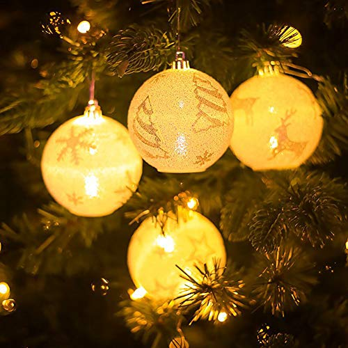 CTlite Christmas Light, Pack of 4 Glowing Ball LED Light Up Christmas Ornaments Hanging On Decorative Night Lamp Pendant Lantern for Xmas Tree Holiday Party Bar Home Decor ()