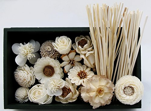 Fulllight aroma set, 10 mixed difference flowers diffuser Sesbania wood with 20 grams reed diffuser Sesame wood and 20 reed diffuser rattan wood, rod and branch style, for aroma diffuser - Aniston Style Jennifer