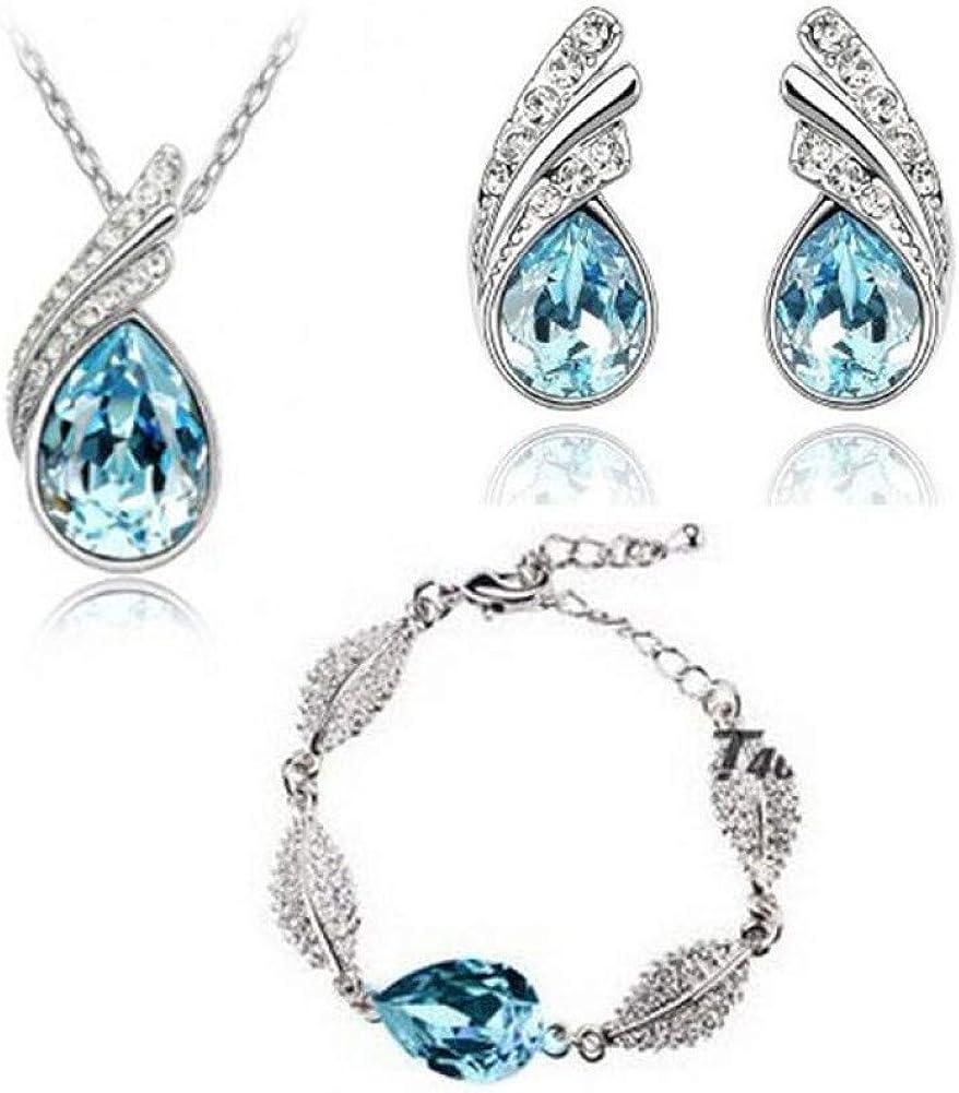 QPODGQ Collar Joyería De Plata De Ley 925 Adecuada para Damas Conjunto Cristal Azul Marino Collar Pulsera Pendiente Conjunto