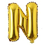 16' inch Single Gold Alphabet Letter Number Balloons Aluminum Hanging Foil Film Balloon Wedding Birthday Party Decoration Banner Air Mylar Balloons (16 inch Gold N)