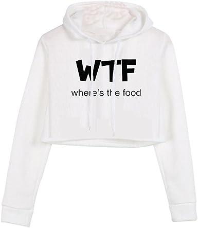 Domple Womens Stylish Letters Print Crop Top Pullover Hoodie Sweatshirt