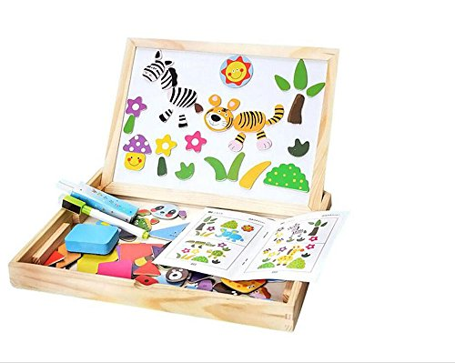 BIBNice Wooden Puzzle & Drawing Board Double-face Chalkboard Easel Educational Learning Toy for Kids,100 Pcs(Animal)