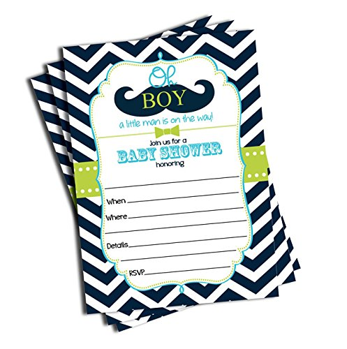 50 Mustache Oh Boy! Baby Shower Invitations and
