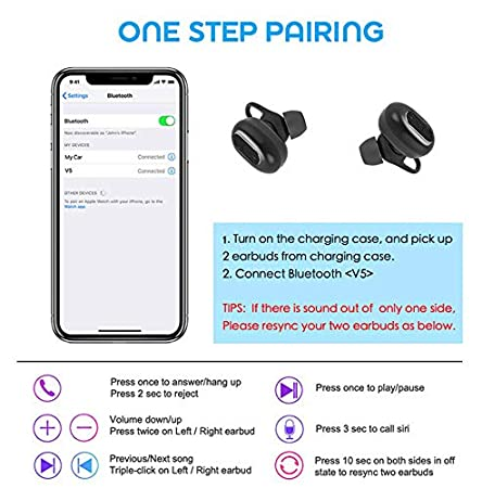 Wireless Earbuds Bluetooth 5 0 Headphones,Sports in-Ear Stereo Hi-Fi Sound  call with 500mAH Charging Case