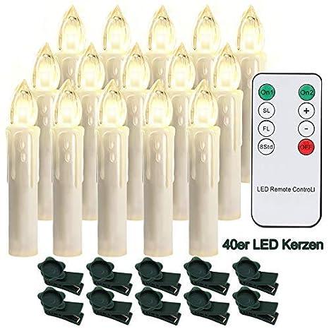 20X Kabellose LED Weihnachtskerzen Lichterkette Kerze Weihnachtsbaumkerzen Party
