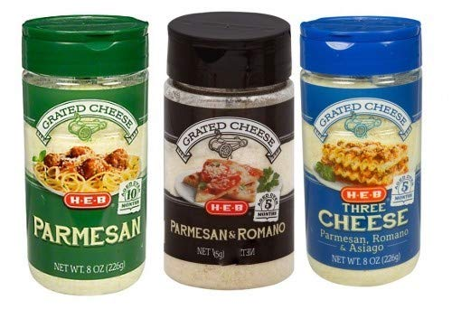Grated Aged Cheese Set - Parmesan, Parmesan and Romano, Three Cheese Blend