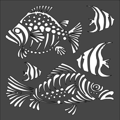 ステンシル 絵画 海の魚 海 池用 5.5 x 5.5