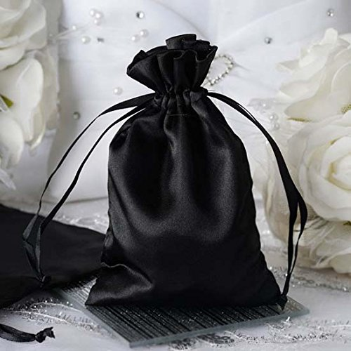 Efavormart 60PCS BLACK Satin Gift Bag Drawstring Pouch Wedding Favors Bridal Shower Jewelry Bags - 4