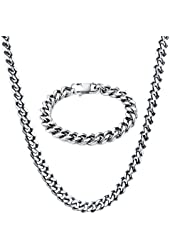 """TOTU Stainless Steel Link Curb Chain Necklace with Bracelet , 10mm Width, 24""""/8.5"""" Length"""