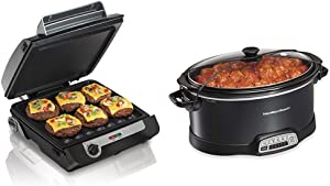 Hamilton Beach 4-in-1 Indoor Grill & Electric Griddle Combo with Bacon Cooker, Black & Silver (25601) & Portable 7-Quart Programmable Slow Cooker With Lid Latch Strap for Easy Transport, Black