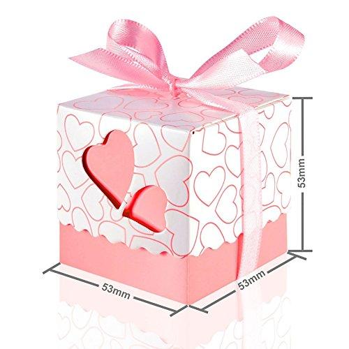 パイプライン威信ハンバーガーiBasteキャンディーボックス 50枚 ハートプリント ハート 紙カット ギフトボックス 透かし彫り リボン 結婚式 誕生日祝い 出産祝い ウエディングボックス パーティー 可愛い ピンク ブルー