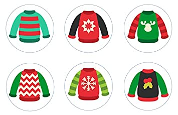 Amazon Com Ugly Christmas Sweater Edible Cupcake Toppers Decoration