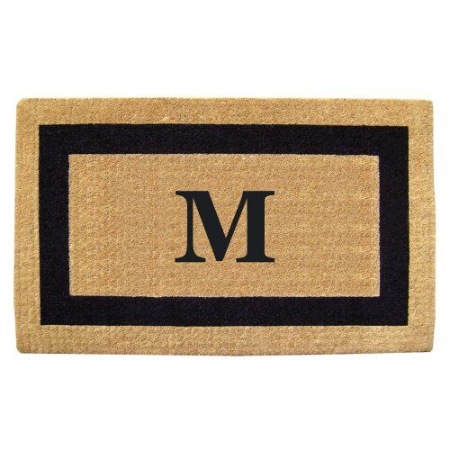 Creative Accents Single Picture Black Frame Heavy Duty Coir Doormat, 22 by 36-Inch, Monogrammed M (Monogram Coco Mat)
