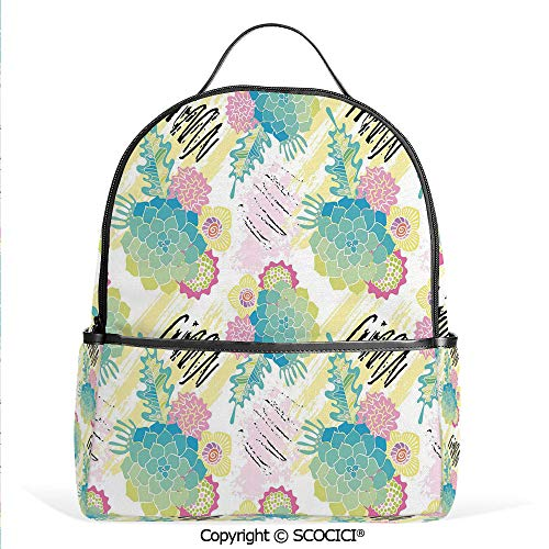 (Hot Sale Backpack outdoor travel Floral Corsage Pattern with Brushstrokes Colorful Flourish Foliage Summer Field Decorative,Multicolor,With Water Bottle)