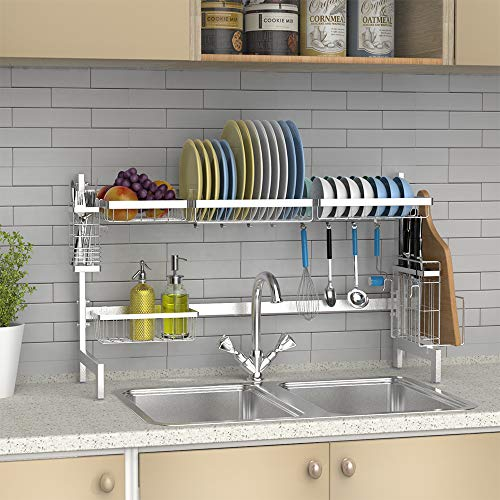 Over The Sink Dish Drying Rack Ace Teah Large Capacity Stainless Steel Dish Rack Over Sink With Utensil Holder Hooks For Kitchen Counter Top Silver Aceteah