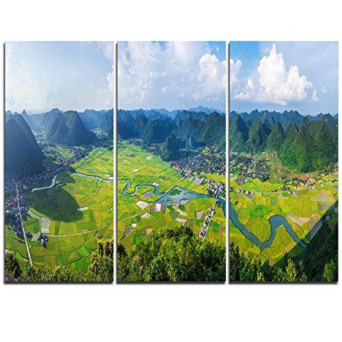 Landscape Panorama (Rice Field Valley Vietnam Panorama Landscape on Canvas Art Wall Photgraphy Artwork Print)