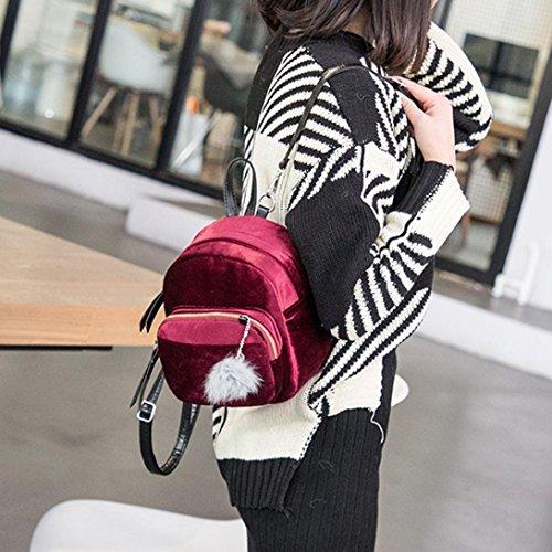 Girls Women Gift Pom School Ball Wine Bag Fur Bags Pom Mini LMMVP Fashion by Travel Backpack Velvet Shoulder vxwqrUvS