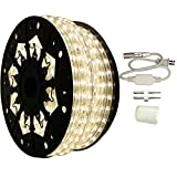 AQL Dimmable Moon White LED Rope Light Standard Kit, 120 Volts, Full 360 Degrees LED 513PRO Diode, 150ft/Roll, Commercial Grade Indoor/Outdoor Rope Light, IP65 Waterproof