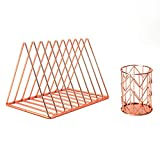 Desktop Organizer 2 Piece Desk Accessories Set - Magazine File Rack Book Record Triangle File Divider, Pencil Cup Pencil Holder,Office Desk Supplies Decor Home Office (Rose Gold)