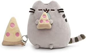 GUND Pusheen with Pizza and Bonus Clip Plush Stuffed Animal Cat, Gray, 6