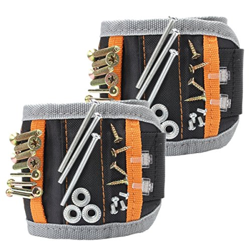 Magnetic Wristband 2 Pack 15 Strong Magnets for Holding Screws, Nails, Drilling Bits - Best Father's Day Gift for Men, DIY Handyman, Father/Dad, Husband, Boyfriend by BALANSOHO
