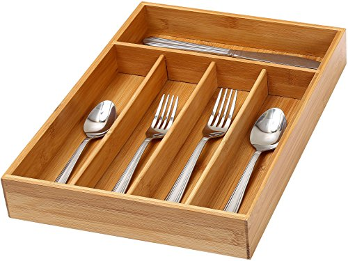 "YBM Home & Kitchen 5-compartment Kitchen Utensil, Flatware, Cutlery Tray Drawer Organizer Size: 14""lx10""wx2""h 338"