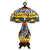16 Inch Bedside Light Blue and Yellow Stained Glass and Jewelled Dragonfly Design Tiffany Style Table Lamp for Bedroom and Living Room - E272 E141