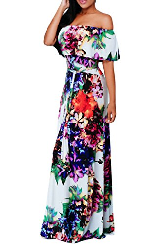 Happy Sailed Women African Print Off Shoulder Maxi - Colorful Wedding Dresses