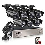 zosi 8-Channel HD-TVI 720P 1080N DVR cámara de vigilancia de video Seguridad Kit 8x 1280TVL Cámaras de interior al aire última intervensión IR resistente a la intemperie 65pies 20m de visión nocturna con IR Cut sin disco duro, 720p, 8CH+8Camera+1TB