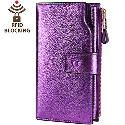 (Itslife Women's RFID Blocking Large Capacity Luxury Wax Genuine Leather Clutch Wallet Card Holder Organizer Ladies Purse (4-Pebbled Purple Gold))