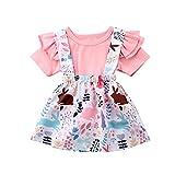 Easter Baby Girls' Summer Outfits Pink Bunny Printed Ruffle Short-Sleeve top + Suspender Short Skirt Princess Skirts Toddler Cute Cartoon Elastic A-line Dress (18-24 Months)