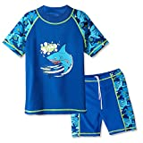 HUAANIUE Boys 3-12 Years Two Piece 50+UV Swimsuit Costume 9-10Y Short Navy