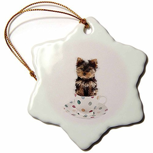 Yorkie Teacup Ornament - Funny Christmas Snowflake Ornaments Tea Cup Yorkie In Tea Cup Holiday Xmas Tree Hanging Ornaments Decoration Gifts