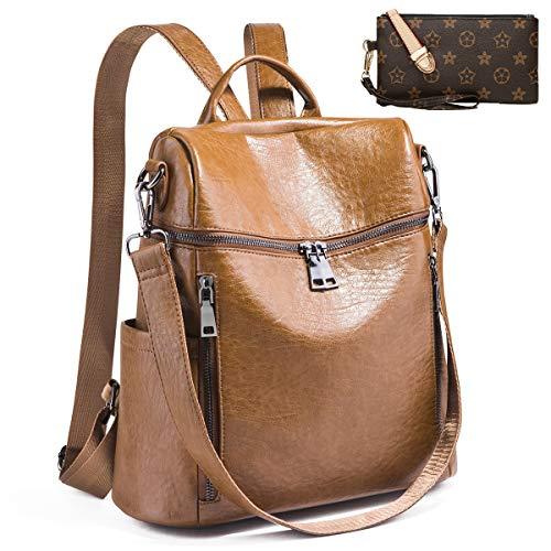 Backpack for women Fashion Leather Ladies Rucksack Crossbody Shoulder Bag 2pcs Purses Backpack Set (brown)