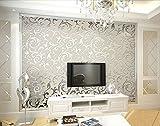 HANMERO High-grade Flocking Victorian Damask/Embossed PVC Wallpaper Roll Gray Color Wallpaper for Living Room Hotel Bedroom TV Background 0.53m(20.86')*10m(32.8')=5.3O(57sqfeet) - Silver & Gray