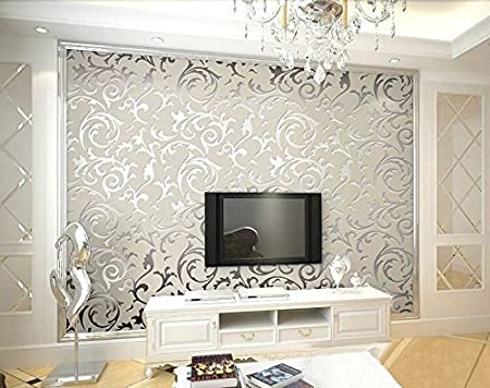 Hanmero High Grade Flocking Victorian Damask Embossed Pvc Wallpaper Roll Gray Color Wallpaper For Living Room Hotel Bedroom Tv Background