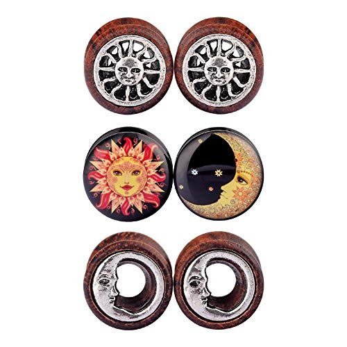 (D&M Jewelry 6pcs 0G-3/4 Sun Moon Organic Wood & Acrylic Screw Ear Tunnels Plugs Expander Set (Style B, 3/4