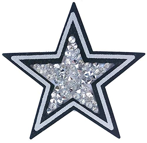 Rhinestone Leather Patch Star-Shaped Appliqué. Sew On, Black with Silver Painting. Size 2.4