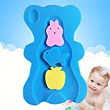 UNAOIWN Comfy Infant Baby Bath Sponge Cushion Anti Bacterial And Skid Proof Bathing Mat (Blue)