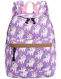 a7674cc092c9 Preschool Backpack for Kids Girls Toddler Backpack Kindergarten School  Bookbags (Cute unicorn-Purple)