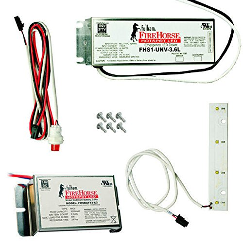 LED Emergency Backup Fulham FHSKITT04LNC C-Cell Battery Pack LED Array Module 4W 500 Lumens 145 min 120//277V Operation