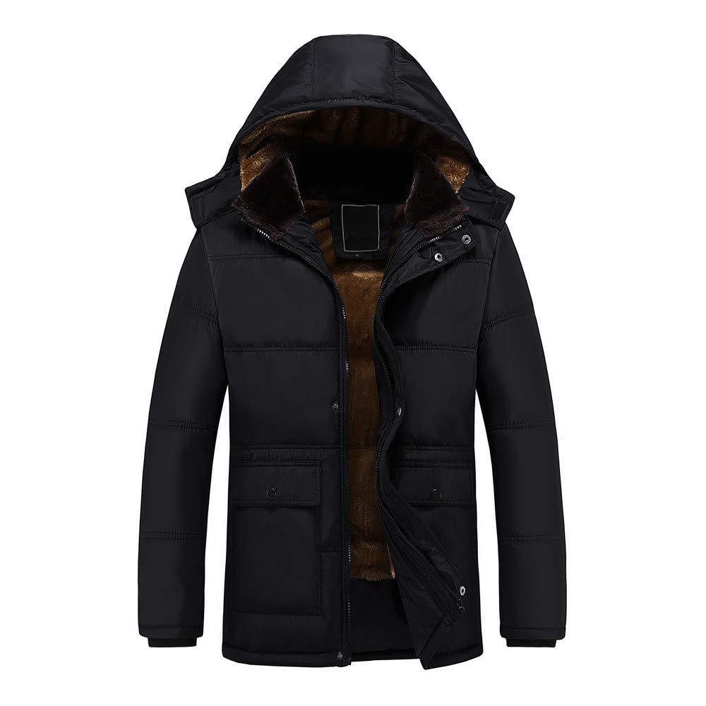 Men Blouse,Dartphew-Mens Pure Color-Hoodie Pocket Coat /&Length Thickening Coat