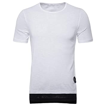 c6fb32afb NUWFOR Men's Fake Two Pieces Striped Splice Casual Sport Lapel Short Sleeve  Shirt(White,