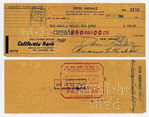 Original Dezi Arnaz Signed Autographed Check #3732