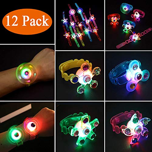 Party Favors for Kids-12 Pack LED Light Up Toys Glow in The Dark Birthday Supplies for Kids Boys Girls Prizes Box Toys for Classroom Hand Spin Stress Relief Anxiety Toys FOR Christmas Birthday Celebration