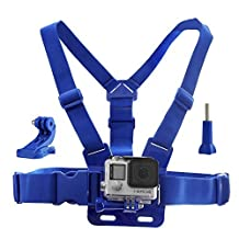 CamKix Chest Mount Harness for GoPro – Adjustable Chest Strap Compatible with GoPro Hero4, Hero3+, Hero3, Hero2, and Hero Camera - Also Includes 1 J-Hook, 1 Thumbscrew , 1 CamKix Drawstring Storage Bag (Blue)