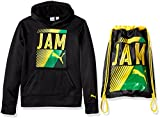 PUMA Big Boys' Jamaica Olympic Hoodie and Carry Sack, Black, Large (14/16)