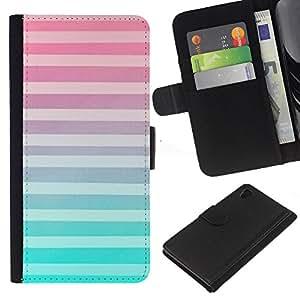 Planetar® Modelo colorido cuero carpeta tirón caso cubierta piel Holster Funda protección Para Sony Xperia Z4 / Sony Xperia Z4V / E6508 ( Trullo Rosa Púrpura Modelo abstracto)