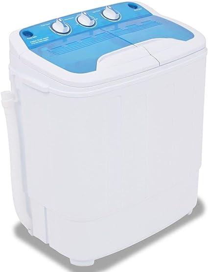 vidaXL Lavadora Miniatura 2 Tambores 5,6kg Electrodoméstico Máquina Lavar Ropa Pequeña Dormitorio Escuela Cocina Caravana Camping RV Casa
