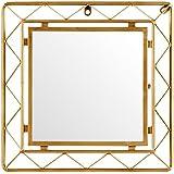 "Rivet Modern Metal Lattice-Work Square Mirror, 16.25""H, Gold Finish"